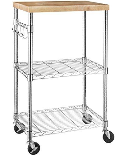 AmazonBasics - Küchenrollwagen, Holz/Chrom