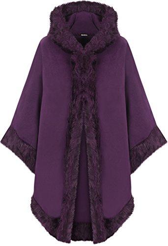 WearAll - Damen Ebene Faux Pelz Trimmen Abzugshaube Umhang Schal Mantel Poncho Mantel Top - Lila - Eine Größe