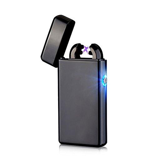 USB Elektronisches Feuerzeug Dual Lichtbogen Aufladbar Winddicht (Schwarz)