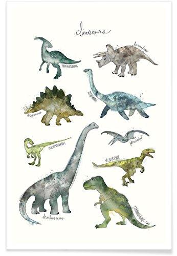 """JUNIQE® Poster 40x60cm Dinosaurier Kinderzimmer & Kunst für Kinder - Design """"Dinosaurs"""" (Format: Hoch) - Bilder, Kunstdrucke & Prints von unabhängigen Künstlern - Kinderbilder & Kunst für\'s Babyzimmer - entworfen von Amy Hamilton"""
