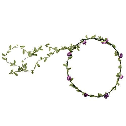 TOOGOO(R)Guirlande Florale Fille Femme Fete Mariage Boho Bande de Cheveux violet