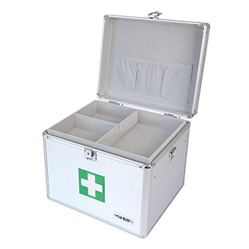 HMF 14702-09 Alu Medizinkoffer, Erste Hilfe Koffer, Tragegriff, 30 x 25 x 25 cm