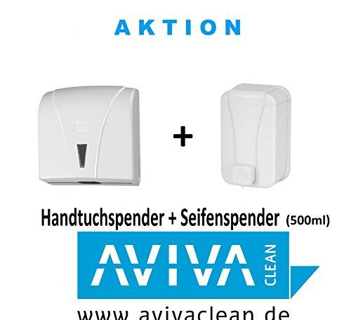 Aviva Clean Spenderset Handtuchspender & Seifenspender (500 ml) weiß Papierspender im Set AKTION NUR HEUTE