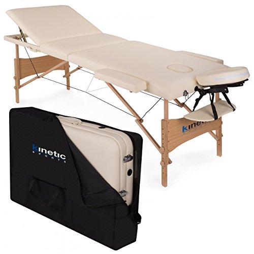 KINETIC SPORTS Massageliege 3-Zonen Polsterung 5 cm MB01 inklusive Tragetasche CREME