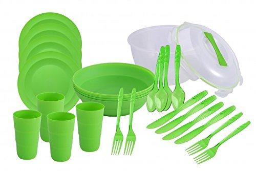 26-tlg. Picknick Geschirr Set - für 4 Personen - Servierschüssel mit Deckel - Teller - Schalen - Becher - Besteck - Camping - Picknick-Geschirr - Reise-Set