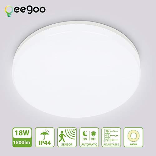 Oeegoo LED Deckenleuchte mit Bewegungsmelder, IP44 Wasserfeste Badlampe, 18W 1800LM einstellbare Deckenlampe mit 360° Bewegungssensor für Badezimmer Flur Treppenhaus Balkon Keller Neutralweiß 4000K