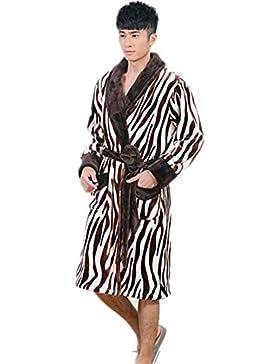 DMMSS Autunno uomo inverno pigiama in flanella ispessimento della camicia da notte lunga - manica V - collo accappatoio...