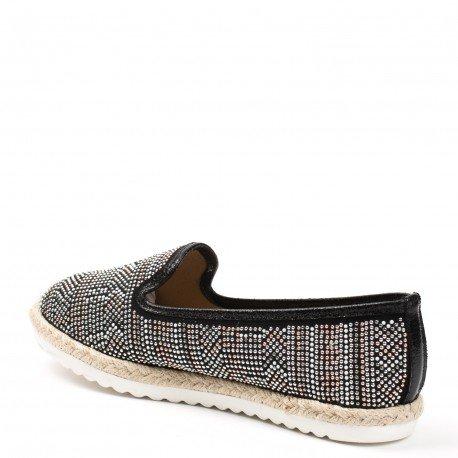 Ideal Shoes - Mocassins effet daim incrustés de strass Jimena Noir