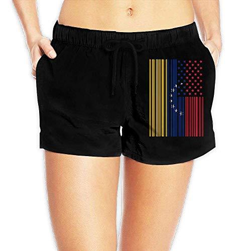 Hwgss Bar Coded USA Venezuela Flag Womens Lightweight Boardshorts Casual Classic Bathing Suit Pockets(S) -