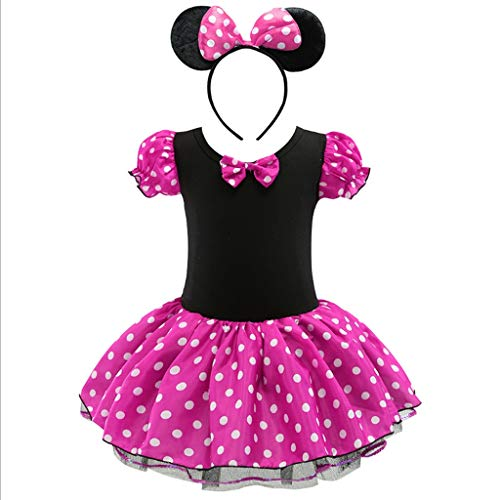 Mouse Weibliche Kostüm Mickey - HUO FEI NIAO Mädchen tanzen Kleidung Mickey Mouse Runde leichte Stück Tutu Rock Cosplay Kleid (Color : Rose red, Size : 130)