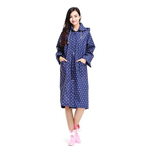 Impermeabile moda sveglia alla moda secco Pois cappuccio delle donne della signora delle ragazze delle signore EVA veloce Rain Jacket Xagoo indumenti impermeabili Mackintosh con la chiusura lampo (blu)