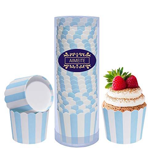 AIMEITE Cupcake Formen Papier Mini Liner Muffin Förmchen Papier Cupcake Wrappers Backförmchen Cupcake Muffin Backform 24 Stück (Blau)