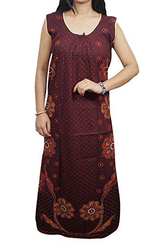 Indiatrendzs Women Sleepwear Maroon Cotton Maxi Nighty Night Dress Nightgown Chest : 42