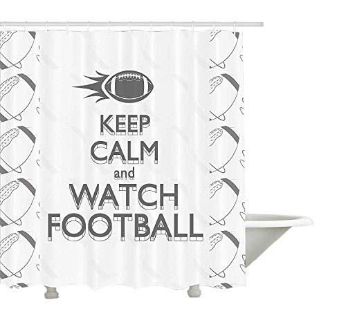 Yeuss Football Rideau de douche par, American Sport Play Keep Calm Citation Monochrome Rocket Boule vintage Label, tissu de salle de bain DšŠcor avec ensemble de crochets