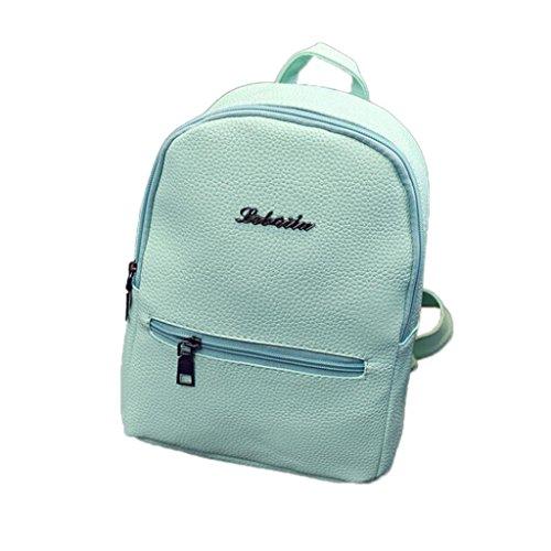 Resplend Mädchen Mode Candy Farbe Litschi-Muster Reißverschluss Rucksack Beiläufig Reiserucksack Schultasche PU-Leder Schulranzen Freizeit Backpacks (Grün)