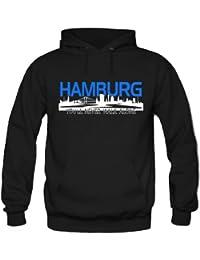 Hamburg Skyline Kapuzenpullover | Fussball | Männer | Elbe | Fan | Herrn | Hansestadt | Trikot | Ultras | Fanshirt
