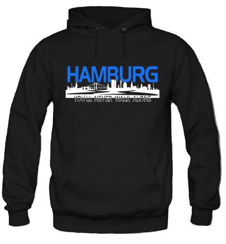 Hamburg Skyline Kapuzenpullover | Fussball | Männer | Elbe | Fan | Herrn | Hansestadt | Trikot | Ultras | Fanshirt | Rothosen (S)