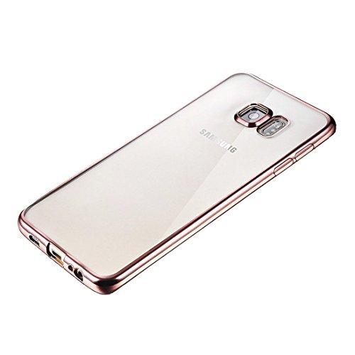 DBIT Galaxy S6 Edge hülle, Schlank Zerklüftet Langlebig Handy-Gehäuse Hülle Tasche Plating TPU Case Schutzhülle Silikon Crystal Case Durchsichtig Für Samsung Galaxy S6 Edge,Rose Gold