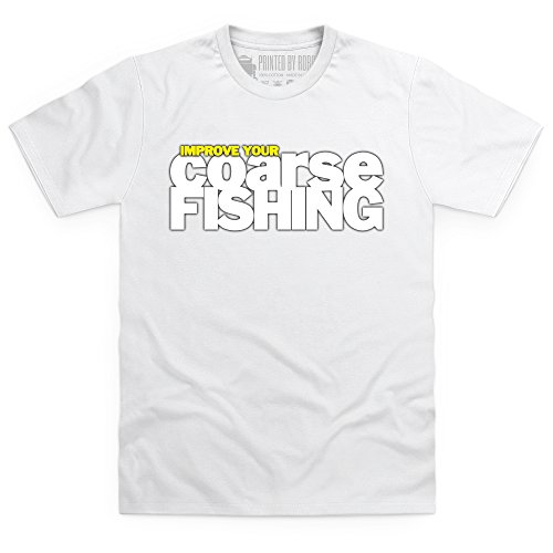 Improve Your Coarse Fishing Logo T-Shirt, Herren Wei