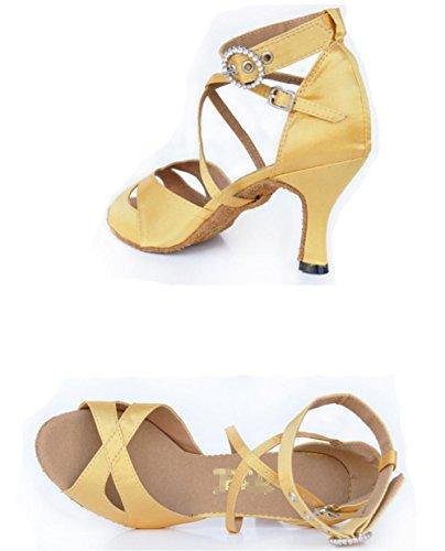 sandali da donna salsa in sala da ballo tango in pelle scamosciata in pelle scamosciata soft soles cinturino in fibbia in pattini da ballo giallo C
