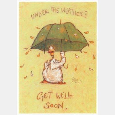 3x unter das Wetter Grußkarte/Get Well Soon Karten