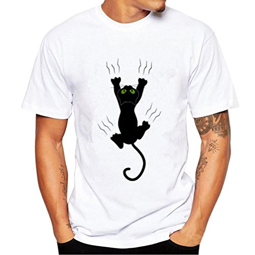 Druck Tee (Herren Creative Katze bedruckt T-Shirts, mamum Herren Druck Tees Shirt Short Sleeve T Shirt Bluse)