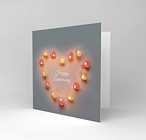 HAPPY ANNIVERSARY CANDLE LOVE VALENTINES HEART DAY LIGHT GREETINGS CARD CS1011