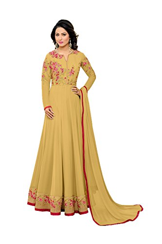 Indian Women Designer Partywear Ethnic Traditonal yellow Anarkali Salwar Kameez in yellow Georgette (Chiffon Kameez Gelb)