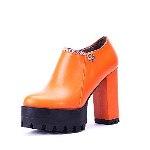 AllhqFashion Femme Matière Souple Zip Rond à Talon Haut Mosaïque Chaussures Légeres Orange