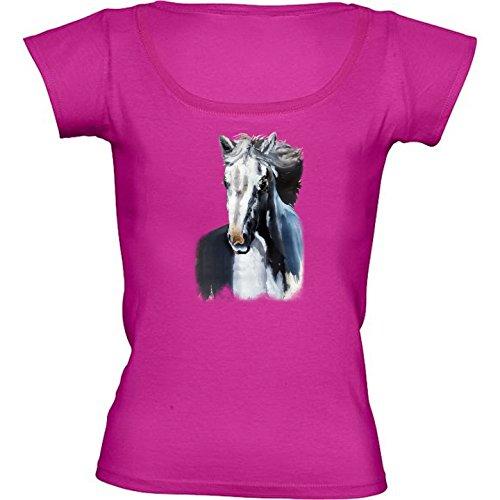 round-neck-fuschia-pink-t-shirt-for-women-medium-size-wild-white-horse-from-the-dark-by-bluedarkart