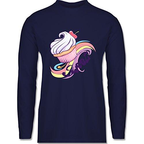 Küche - Sweet Cupcake - Longsleeve / langärmeliges T-Shirt für Herren Navy Blau