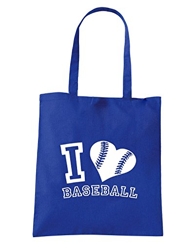 T-Shirtshock - Borsa Shopping TLOVE0126 i love baseball graphic logo Blu Royal