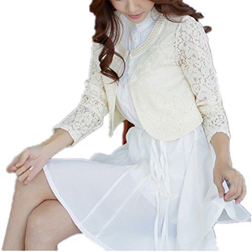 Monissy Femmes Cardigan En Dentelle A Manches Longues Les Fleurs Décoratifs Boléro Cardigan Blouse Blazer Été Blanc