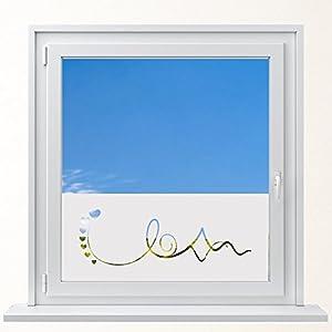 DD Dotzler Design 6416-16 individuelle Sichtschutzfolie Fensterfolie Vogelschutz Milchglas Lebenslinie mit Herzen