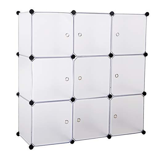 BASTUO Aufbewahrungswürfel Schrank DIY Bücherregal Regal Körbe Modular Würfel Schrank für Spielzeug Bücher Kleidung weiß mit Türen, 9 Cubes -