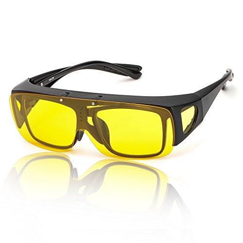 SIPHEW Nachtsichtbrille Autofahren für Brillenträger Gelbe Linse Anti Glanz Fahren Brillen-Kontrast Brille Nachtfahrbrille Polarisierte 100% UVA/UVB Schutz