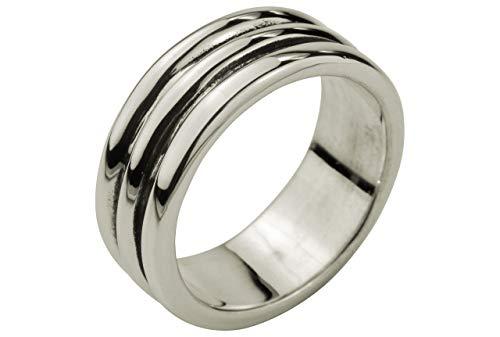SILBERMOOS Herren Ring in Streifen-Optik massiv geschwärzt 925 Sterling Silber modern cool, Größe:66 (21.0)
