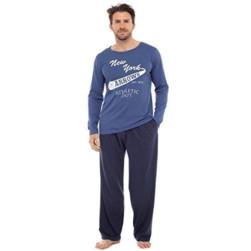 Herren Pyjama Set Langarm-top & Hosen Baumwoll Schlafanzug blau und Marineblau New York Pfeile