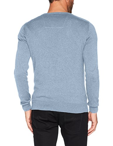 TOM TAILOR Herren Pullover Basic V-Neck Sweater Blau (Clouds Heaven Blue Melange 6497)