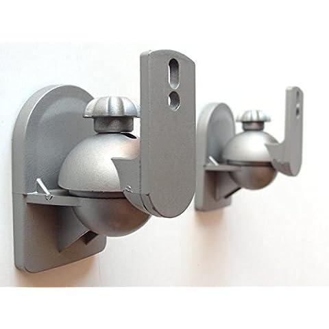 2 Piezas Caja Parlantes Soportes Soporte de techo y Montaje en pared Soporte de altavoz para Cajas trapezoidales Satélites Cajas (inclinable y giratorio) gris Modelo: