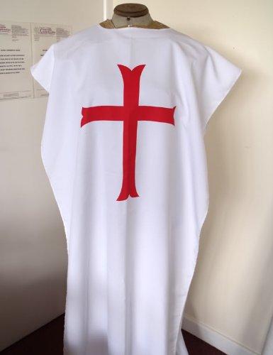 Custom Made Fancy Dress Kostüm - Weiß mit Tempelritter-Kleidungsschutz im Wappenrock-Stil aus