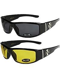 2er Pack Choppers 6608 X0 Sonnenbrillen Motorradbrille Sportbrille Radbrille in den Farben schwarz, anthrazit, silber und weiß