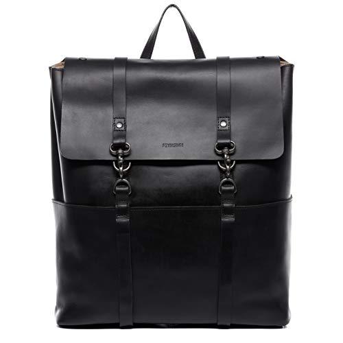 FEYNSINN Rucksack echt Leder VAL XXL groß Backpack Tagesrucksack Kurierrucksack Fahrradrucksack 15 Zoll Laptop Lederrucksack Laptopfach Unisex schwarz