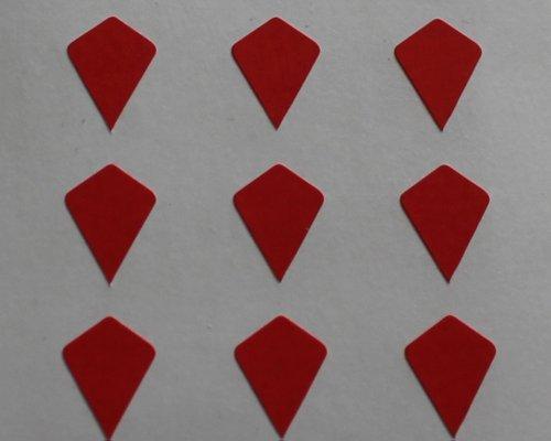 150 Etiquetas, 10x7mm Forma Cometa, Rojo, Pegatinas Autoadhesivas, Minilabel Formas