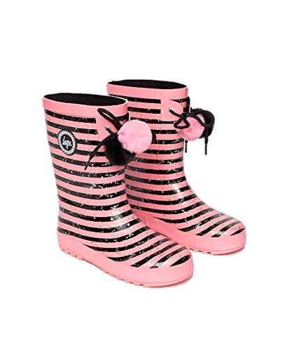 Hype Girls Junior Stripe Pom Pom Wellies Pink/Black