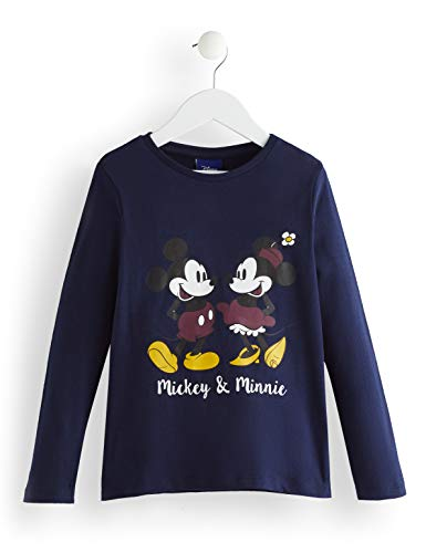 RED WAGON Mädchen Minnie Mouse and Mickey Mouse Long Sleeve Navy Tee Langarmshirt, Blau, 104 (Herstellergröße: 4)