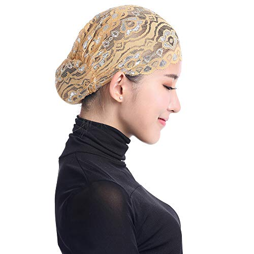 Beikoard Mujer Musulmán Estiramiento Encaje Turbante Sombrero Chemo C