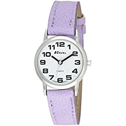 RAVEL WOMEN'S ROUND WHITE DIAL WATCH WITH LILAC STRAP R0105.13.17LA
