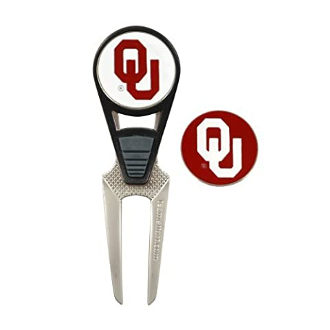 Oklahoma Sooners CVX Golf Ball Mark Repair Tool and 2 Ball Markers by Team Effort