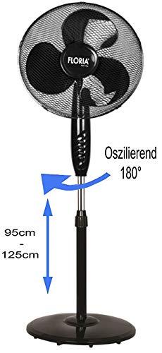 Standventilator Ø41 cm | Leiser Betrieb | Ventilator | 180° Rotation | Windmaschine | Luftkühler...